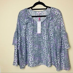 NWT PARKER floral tiered print blouse